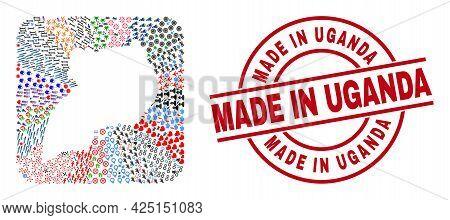 Vector Mosaic Uganda Map Of Different Pictograms And Made In Uganda Stamp. Mosaic Uganda Map Created