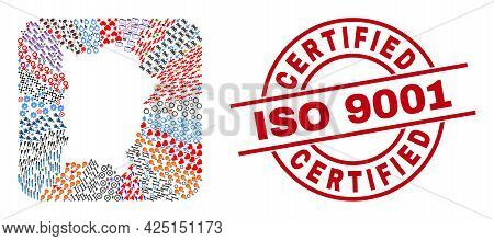 Vector Mosaic Penang Island Map Of Different Pictograms And Certified Iso 9001 Seal. Mosaic Penang I