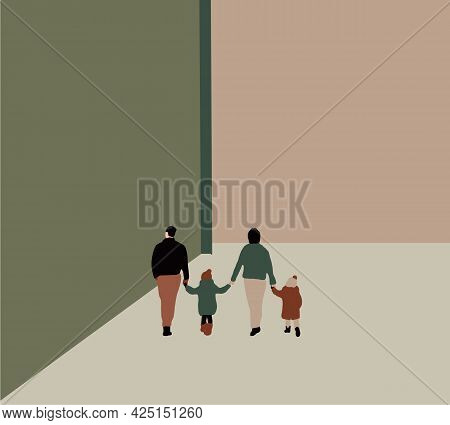 Parents Holding Hands With Daughter And Son Walking In Street, Tender Family Moment. Fun Lifestyle O