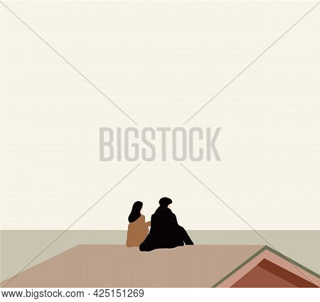 Loving Couple Is Sitting On The Roof Of The House. Cartoon Couple Sit On Building Rooftop Vector Ill