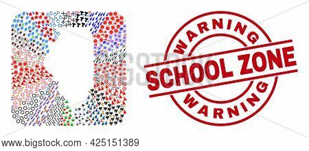 Vector Collage Illinois State Map Of Different Icons And Warning School Zone Stamp. Collage Illinois