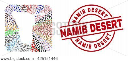Vector Collage Namibia Map Of Different Symbols And Namib Desert Seal Stamp. Collage Namibia Map Des