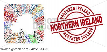 Vector Mosaic Northern Ireland Map Of Different Pictograms And Northern Ireland Seal Stamp. Mosaic N