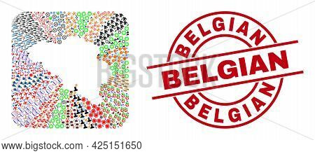Vector Collage Belgium Map Of Different Pictograms And Belgian Seal. Collage Belgium Map Created As