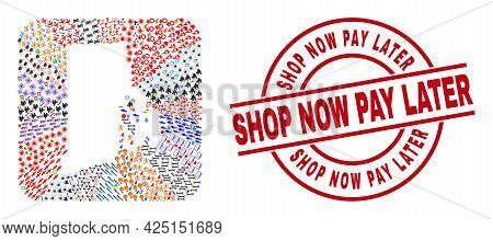 Vector Mosaic Rhode Island State Map Of Different Icons And Shop Now Pay Later Seal Stamp. Collage R