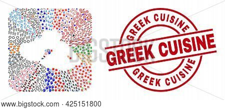Vector Mosaic Lesbos Island Map Of Different Pictograms And Greek Cuisine Stamp. Mosaic Lesbos Islan