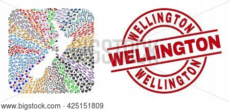 Vector Mosaic New Zealand Map Of Different Icons And Wellington Badge. Mosaic New Zealand Map Create