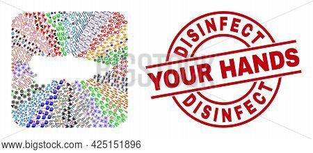 Vector Mosaic Asturias Province Map Of Different Icons And Disinfect Your Hands Badge. Mosaic Asturi