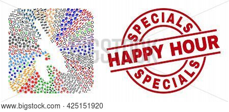 Vector Mosaic Koh Phi Don Map Of Different Icons And Specials Happy Hour Badge. Mosaic Koh Phi Don M