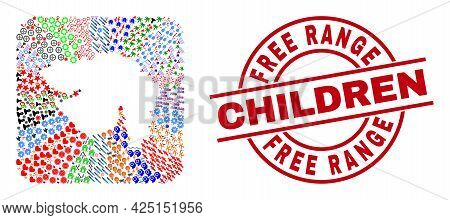 Vector Collage Gujarat State Map Of Different Pictograms And Free Range Children Seal Stamp. Collage
