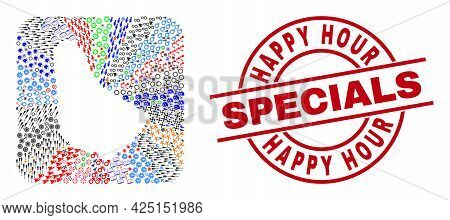 Vector Collage Barbados Map Of Different Symbols And Happy Hour Specials Stamp. Collage Barbados Map