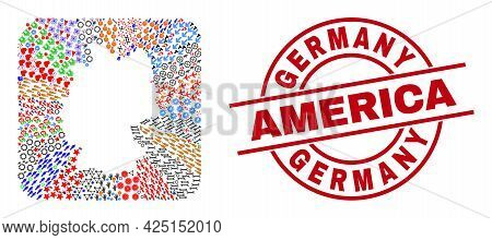 Vector Mosaic Germany Map Of Different Symbols And Germany America Stamp. Mosaic Germany Map Designe