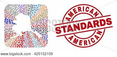 Vector Collage Alaska Map Of Different Symbols And American Standards Seal Stamp. Collage Alaska Map