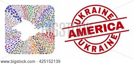 Vector Collage Crimea Map Of Different Pictograms And Ukraine America Seal Stamp. Collage Crimea Map