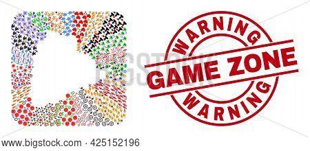 Vector Mosaic Telangana State Map Of Different Symbols And Warning Game Zone Badge. Collage Telangan