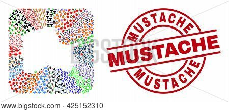 Vector Mosaic Pomeranian Voivodeship Map Of Different Symbols And Mustache Seal Stamp. Collage Pomer
