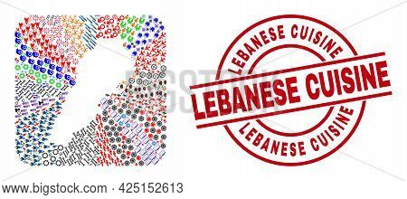 Vector Collage Lebanon Map Of Different Pictograms And Lebanese Cuisine Seal Stamp. Collage Lebanon
