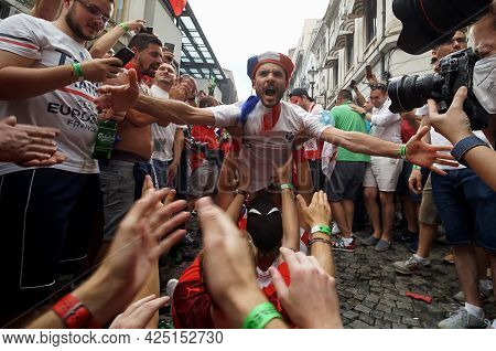 Bucharest, Romania - June 28, 2021: France And Switzerland Fans Party In The Pubs And Streets Of The