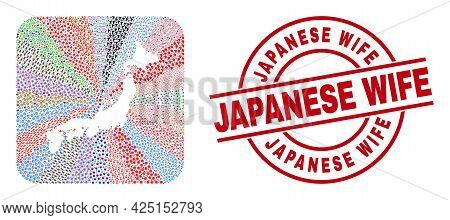 Vector Collage Japan Map Of Different Symbols And Japanese Wife Seal. Collage Japan Map Constructed