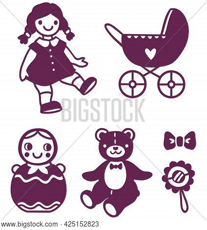 Vector Set Of Simplified Silhouettes Of Retro Children S Toys For Girls