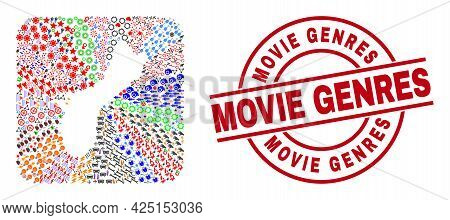 Vector Collage Guam Island Map Of Different Icons And Movie Genres Stamp. Collage Guam Island Map De