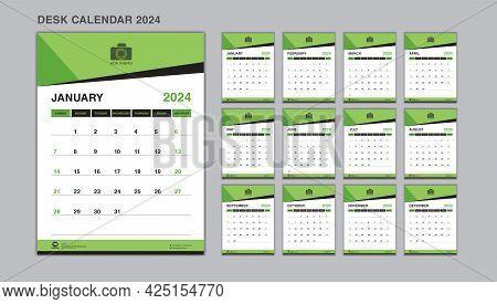 Planner Design, Set Desk Calendar 2024 Template Vector, Wall Calendar 2024 Year, Week Start On Sunda