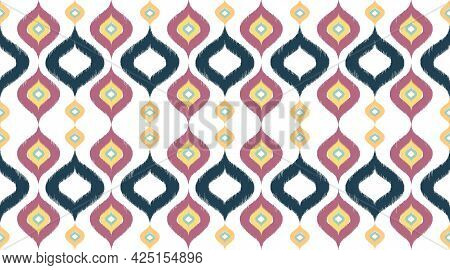 Ikat Textile Pattern And Geomatics Design Red Color Bohemian Fabric Pattern, Design Cloth Of Indian