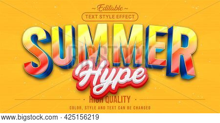Editable Text Style Effect - Summer Text Style Theme. Graphic Design Element.