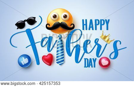 Happy Father's Day Vector Banner Design. Happy Father's Day 3d Text Greeting With Emoji And Elements