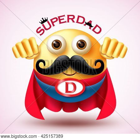 Father's Day Emoji Vector Design. Super Dad Text With Super Hero 3d Character Wearing Cape Costume F