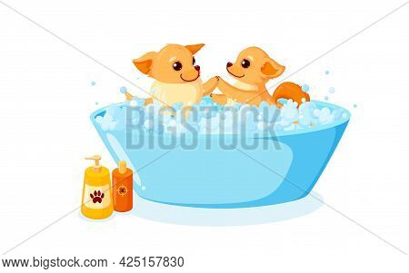 Dog Grooming In A Bathtub With Shampoo. Chihuahua In Soap Foam Isolated In White Background. Vector