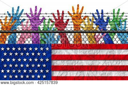 Us Immigration And American Immigrants Or United States Refugee Crisis At The Border With People Try