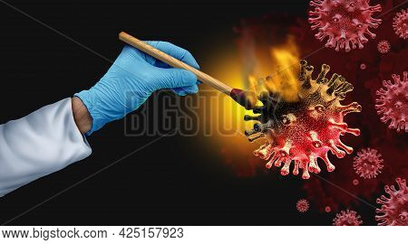 Virus Doctor And Virology Research Concept As A Science Symbol Of A Researcher Burning A Contagious
