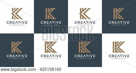 Set Of Initials Letter K Abstract Logo Vector Design
