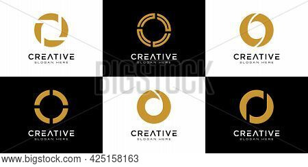 Set Of Initials Letter O Abstract Logo Vector Design