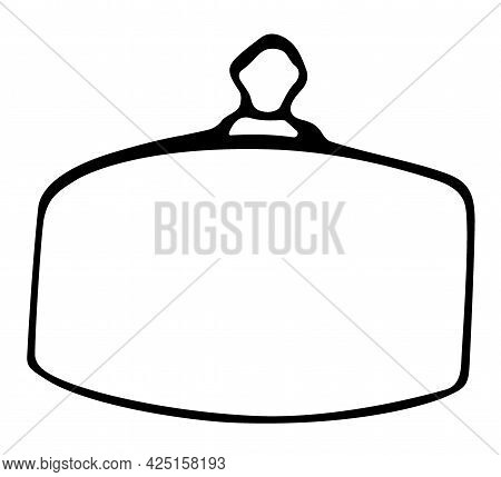 Serving Tray With Lid Hand Drawn Vector Isolated On White Background.