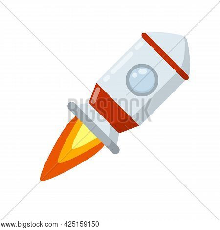 Rocket. Launch Of Spaceship With Porthole. Flight Into Space. Scientific Discovery And Colonization