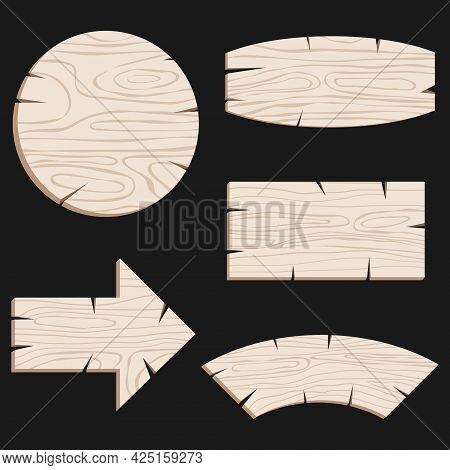 Wooden, Vintage Boards Pointers In Light Gray On A Black Background. Vector, Cartoon Illustration. V