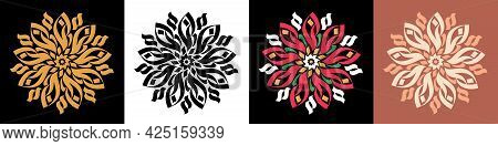 Abstract Calligraphic Flower Ornament. Golden Mandala, Rangoli And Bloom, Calligraphic Pattern. Set