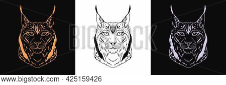 Gold, Black And Silver Lynx Head, Set Of Isolated Outline Lynx Face. Predatory Bobcat. Lynx Silhouet