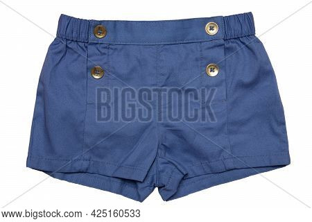 Summer Shorts Isolated. Closeup Of An Stylish Fashionable Blue Short Pant With With Four Fashionable