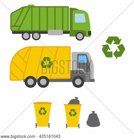 Garbage Truck And Garbage Cans On White Background. Ecology And Recycle Concept. Vector Illustration