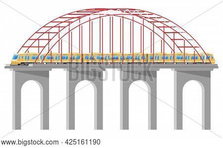 Skytrain On Bridge Isolated. Super Streamlined Train On Aqueduct. Passenger Express Railway Locomoti