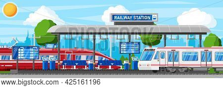 Modern Railway Station With High Speed Train And Platform With Schedule. Super Streamlined Train. Pa