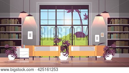 Modern Open Space Empty Nobody Office Or Living Room Interior Contemporary Co-working Center
