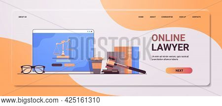 Law And Justice Concept Gavel Judge Books And Scales On Laptop Screen Online Lawyer Legal Advice