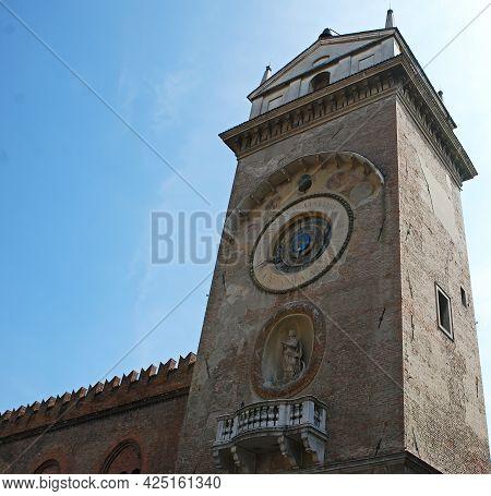 Mantova - Italy - March 27, 2010: Clock Tower Of Piazza Delle Erbe. Mantova. Italy
