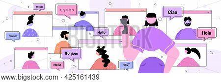 People Using Mobile Translation Application Multilingual Greeting International Online Communication