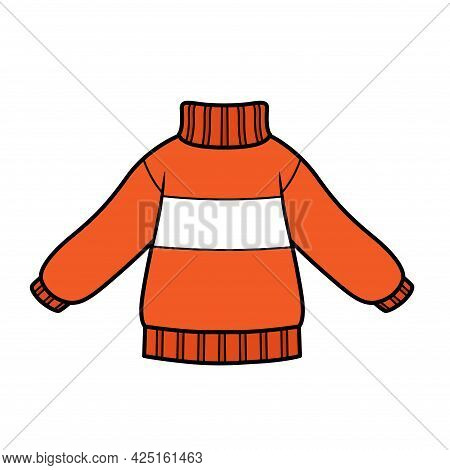 Warm Knitted Sweater For Boy Color Variation For Coloring On A White Background
