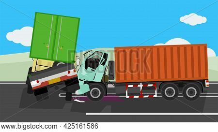 Two Container Trucks Collide On An Asphalt Road. Turn The Car In Front Of The Car That Comes Straigh